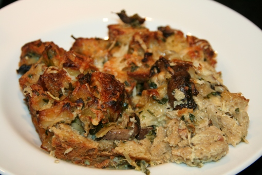 Mushroom Bread Pudding