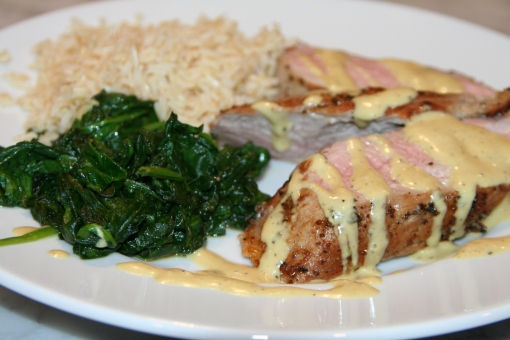Pork Tenderloin with Garlic-Orange Vinaigrette and Sautéed Spinach
