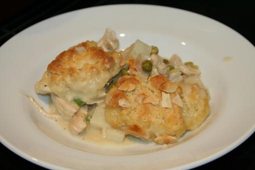 White Chicken Pot Pie with Biscuits