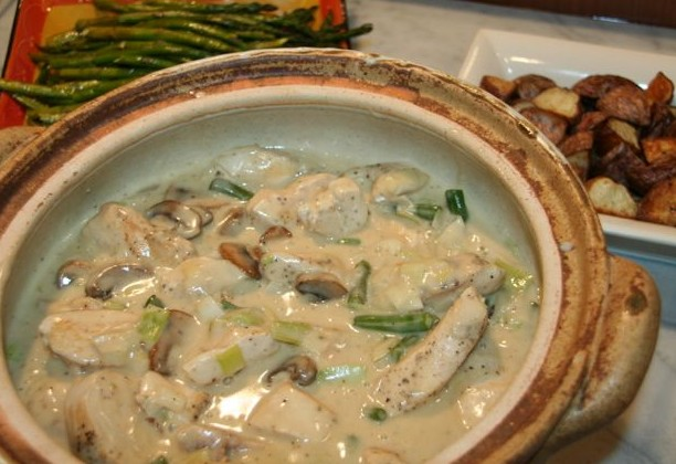 Chicken with Leeks & Mushrooms in White Wine Sauce ...