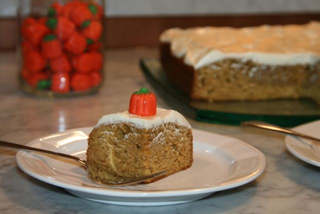 Pumpkin Spice Cake with Honey Cream Cheese Frosting   thebrookcook