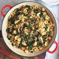 Pasta with Greens, Caramelized Onions & Garlicky Bread Crumbs