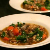 Mushroom, Spinach, Barley, & Bacon Soup