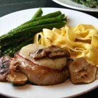 Pork Chops with Shiitake Mushrooms & Mustard Vinaigrette