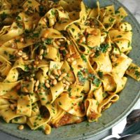 Saffron Pappardelle with Moroccan Spiced Shallot-Butter Sauce