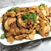Almond-Crusted Pork Scallopini with Apples & Arugula