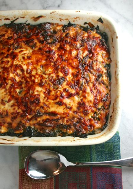 Spinach, Swiss Chard, & Sweet Potato Gratin | thebrookcook