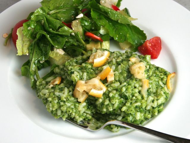 Broccoli Rabe Risotto with Grilled Lemon | thebrookcook