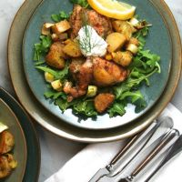 Roasted Chicken with Potatoes, Arugula, & Garlic Yogurt