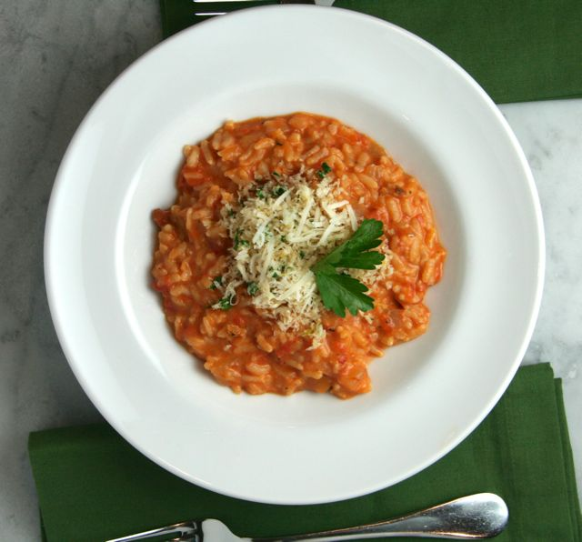 Creamy Tomato Risotto with Crispy Garlic Crumbs | thebrookcook