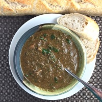 Mushroom-Spinach Soup with Middle Eastern Spices