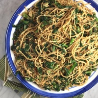 Garlicky Spaghetti with Mixed Greens
