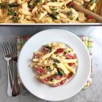 Creamy Ricotta, Fresh Corn & Tomato Baked Ziti
