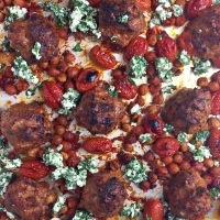 Sheet Pan Turkey Meatballs with Roasted Harissa Chickpeas & Tomatoes