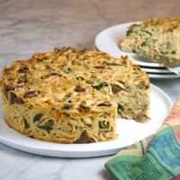 Spaghetti Pie with Wild Mushrooms & Spinach