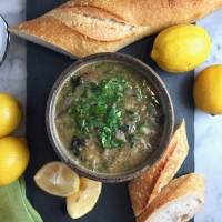 Ottolenghi's Red Lentil Soup with Chard, Cilantro, & Lemon