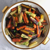 Roasted Rainbow Carrots with Parsley & Thyme