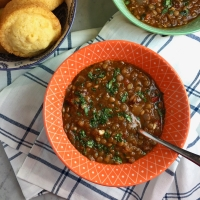Mexican Lentil Soup with Roasted Garlic & Chilies