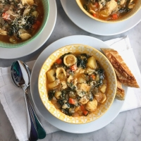 Italian Potato-Pasta Soup with Greens