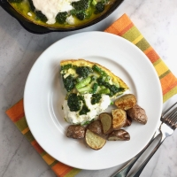 Asparagus Frittata with Burrata & Herb Pesto