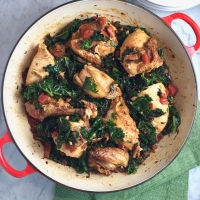 Tomato-Braised Rotisserie Chicken with Kale