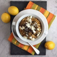 Lentil & Orzo Stew with Lemon & Coriander-Spiced Roasted Eggplant