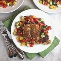 Za'atar Chicken Schnitzel with Israeli Salad