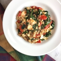 Greek Shrimp, Farro & Greens with Feta