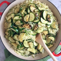 Dirt Candy's Zucchini & Pasta Noodles with Garlicky Yogurt Sauce
