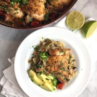 One-Pot Chicken Thighs with Black Beans, Rice & Chiles