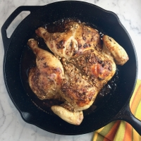 Jacques Pepin's Quick-Roasted Chicken with Mustard & Garlic