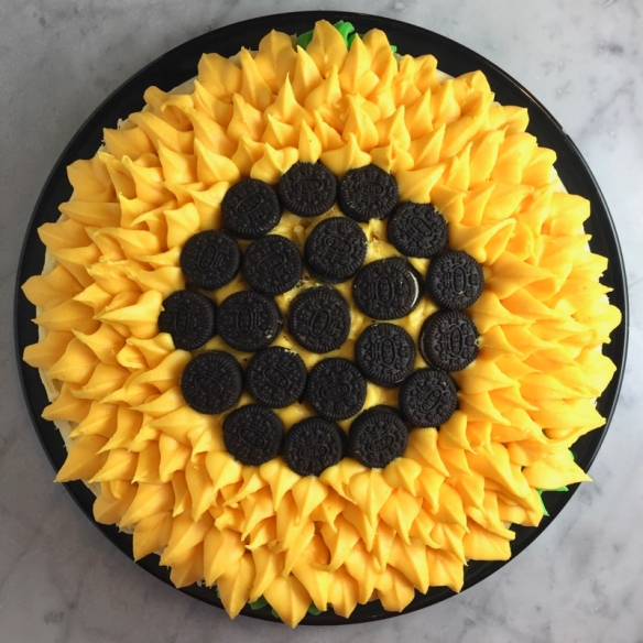 Tremendous Sunflower Birthday Cake Yellow Layer Cake With Vanilla Cream Funny Birthday Cards Online Necthendildamsfinfo