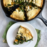 Skillet Phyllo Pie with Butternut Squash, Kale, & Feta