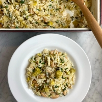 Vegetable Baked Rice with White Beans & Leeks