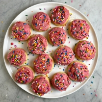 Soft Sugar Cookies with Raspberry Buttercream Frosting