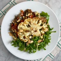 Warm Lentil & Parmesan Roasted Cauliflower Salad