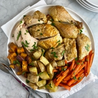 Crusty Parmesan Roast Chicken with Lemon & Rosemary