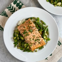 Roasted Salmon with Lemon-Brown Butter Asparagus & Peas
