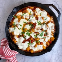 One-Pot Crispy Gnocchi with Burst Tomatoes & Fresh Mozzarella