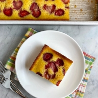 Strawberry-Cornmeal-Olive Oil Snacking Cake