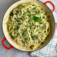 Summer Bucatini with Buttery Zucchini Sauce